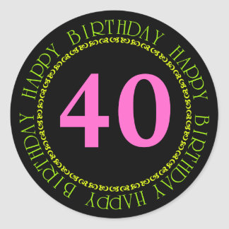 Happy Birthday Black and Pink Age Template Sticker