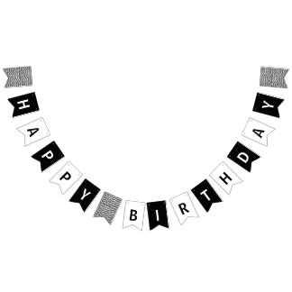 Happy Birthday Black and White Bunting
