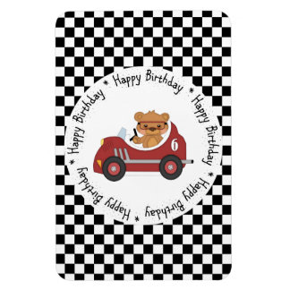 Happy Birthday Black and White Racing Bear Rectangular Photo Magnet