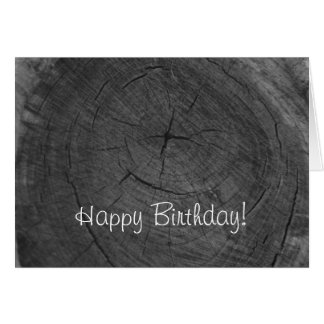 Happy Birthday black and white tree rings Greeting Card