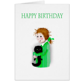 Happy Birthday, Black Cat and little girl. Card