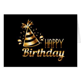 Happy Birthday - Black & Gold 3 Card