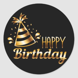 Happy Birthday - Black & Gold 3 S Classic Round Sticker