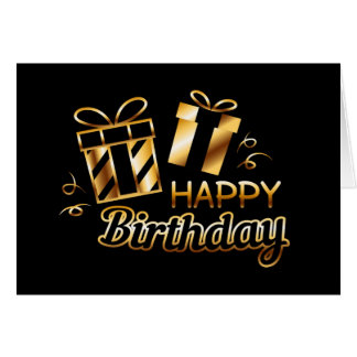 Happy Birthday - Black & Gold 4 Card