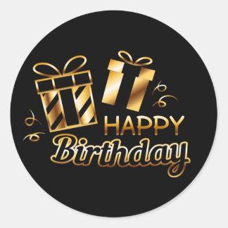 Happy Birthday - Black & Gold 4 S Classic Round Sticker
