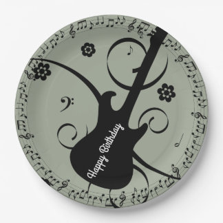 Happy Birthday Black Music Notes Guitar Flowers 9 Inch Paper Plate