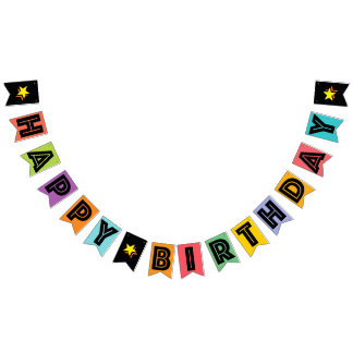 HAPPY BIRTHDAY ☆ BLACK TEXT ON MULTICOLOR BKGD BUNTING