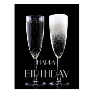 Happy Birthday Black White Champagne Flute Glasses Postcard