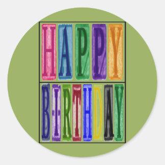 Happy Birthday Blocks Sticker
