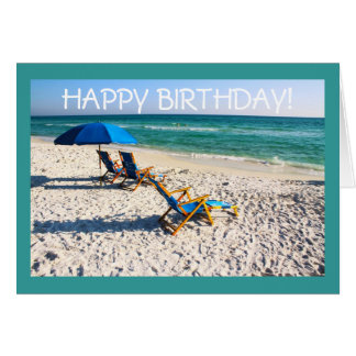 Happy Birthday! - Blue beach chairs florida scene Card
