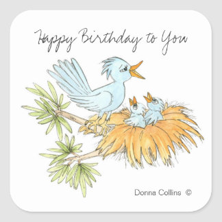 Happy Birthday Blue Birds Square Sticker