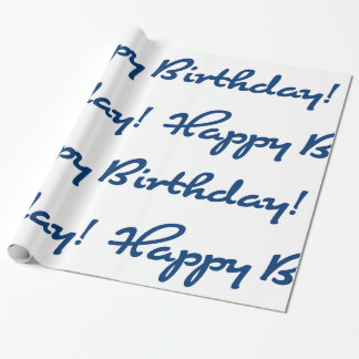 Happy Birthday! Blue Casual Script Wrapping Paper