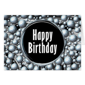 Happy Birthday Blue Chrome Greeting Card