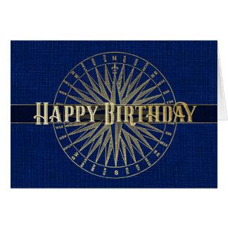 Happy Birthday Blue Compass Design Card