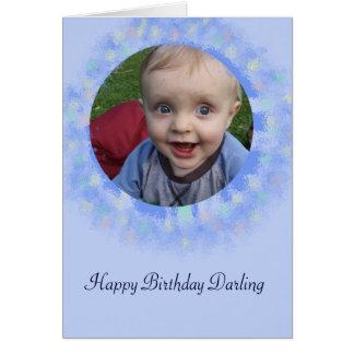 Happy Birthday Blue Custom Photo Greeting Card