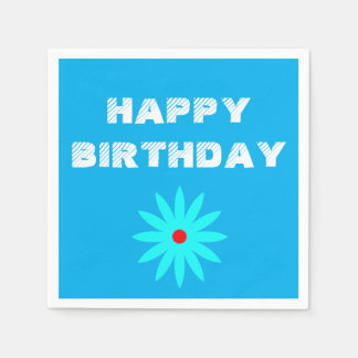 Happy Birthday Blue Floral Patterns Flowers Cool Paper Napkins