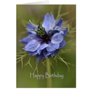 Happy Birthday - Blue Flower Greeting Card