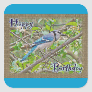 Happy Birthday Blue Jay Square Sticker