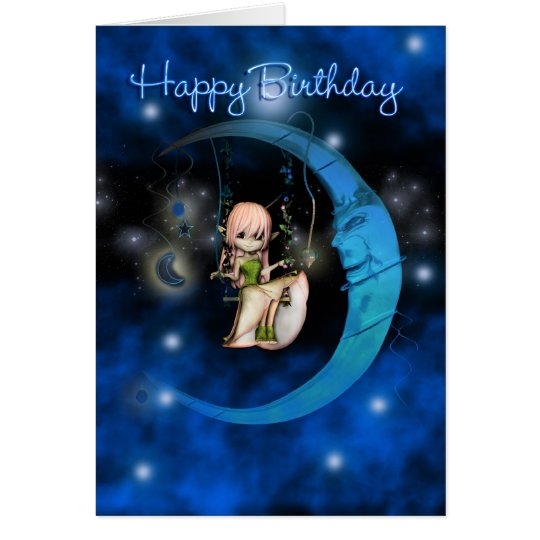 Happy Birthday Blue Moon Fairy stars and sky Card