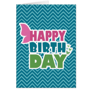 Happy birthday blue/pink/green butterfly card