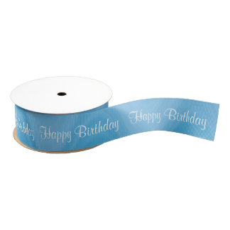 Happy Birthday Blue shades wave pattern Grosgrain Ribbon
