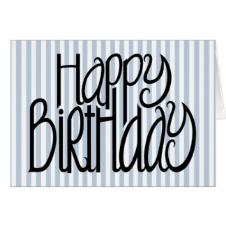 Happy Birthday Blue Stripes Card