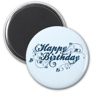 Happy Birthday Blue Swirls Magnet