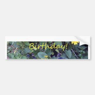 Happy Birthday Blue Yellow vine blue willow Bumper Sticker