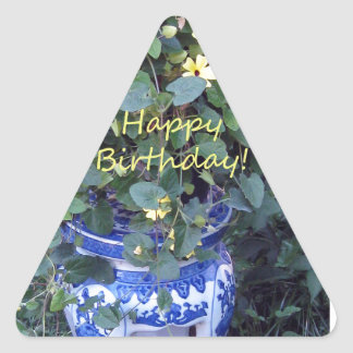 Happy Birthday Blue Yellow vine blue willow Triangle Sticker