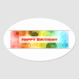 happy birthday (bokeh) oval sticker