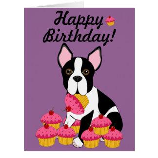 Happy Birthday! Boston Terrier Cupcakes Card