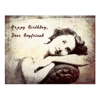 Happy Birthday, Boyfriend Vintage Postcard