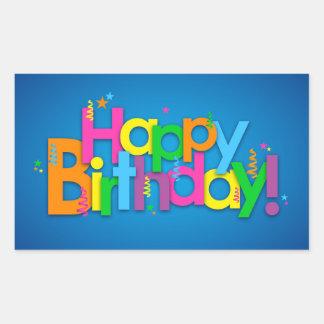 Happy Birthday - Bright Colours Rectangular Sticker