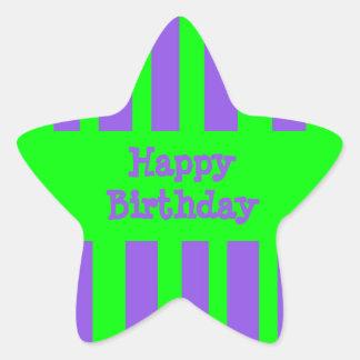 Happy Birthday bright stripes Star Sticker