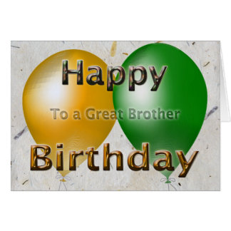 Happy Birthday Brother Balloons Card