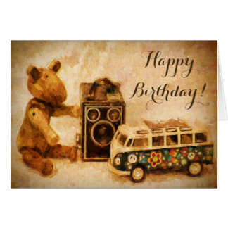 Happy Birthday brown wooden vintage toys camera Card
