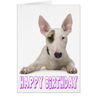 Happy Birthday Bull Terrier Puppy Dog Card