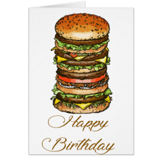Happy Birthday Burger Style Card