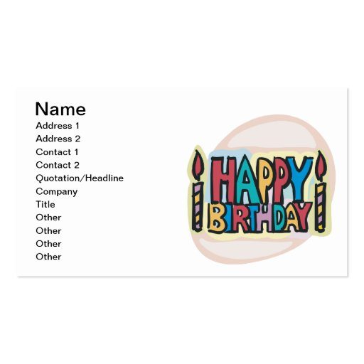 Happy Birthday Business Card Templates