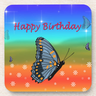 Happy Birthday Butterfly Beverage Coasters