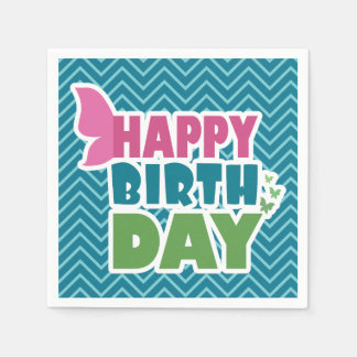 Happy birthday butterfly blue paper party napkins paper napkin