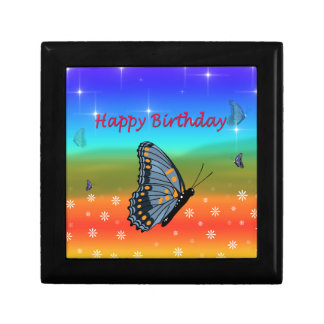Happy Birthday Butterfly Small Square Gift Box