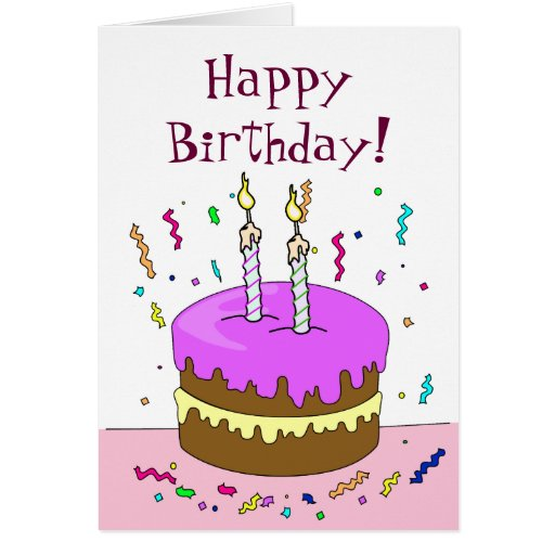 Happy Birthday! Cake 2 YEAR Greeting Cards