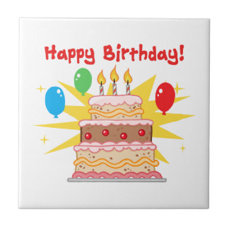 Happy Birthday Cake and Balloons Small Square Tile