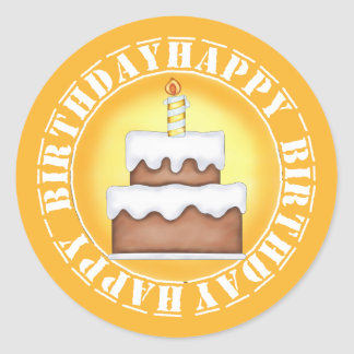 Happy Birthday Cake and Candle Round Stickers