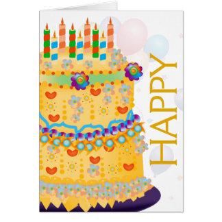 """Happy Birthday"" Cake & Balloons - Birthday Card 4"