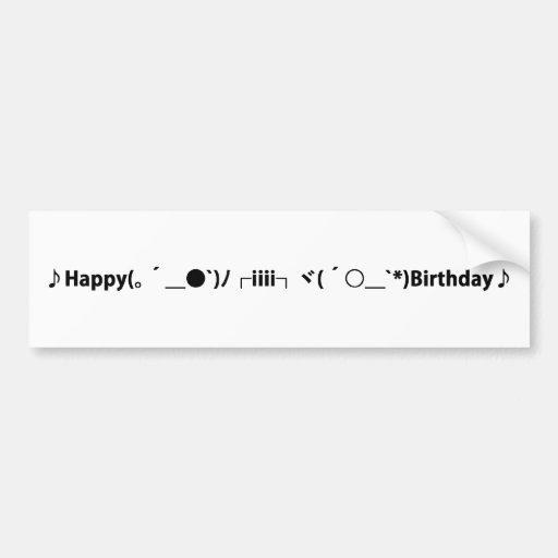 Happy Birthday [ Cake ] Japanese Emoticons Bumper Stickers
