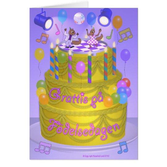 """Happy Birthday"" cake (Swedish) Card"