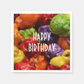 Happy Birthday Candied Popcorn Paper Napkin