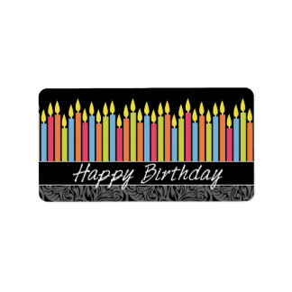 Happy Birthday Candles Address Label